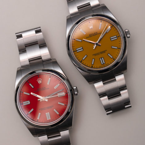 Best Rolex Released New Oyster Perpetual 41 with Red Coral Versus or Yellow Dial Replica Watches